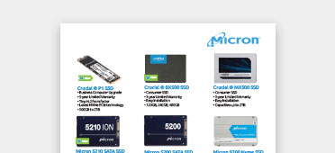 Micron and Crucial SSD and memory product flyer